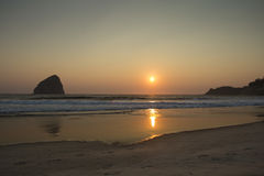 Golden sunset at Cape Kiwanda, Oregon Stock Photo