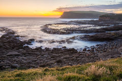 Golden sunset at Curio Bay. The Catlins, New Zealand Stock Image