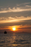 Golden sunset in English Bay, Vancouver, British Columbia, Canad Stock Images
