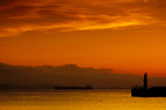 Golden Sunset Gibraltar Harbor Royalty Free Stock Photo