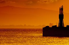 Golden Sunset Gibraltar Harbor Royalty Free Stock Images