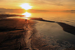 Golden sunset at the Great Salt Lake. Royalty Free Stock Images