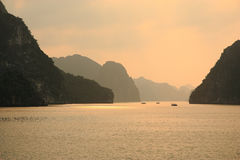 Golden Sunset Halong Bay Stock Image