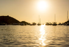 Golden sunset in Ibiza island Royalty Free Stock Images