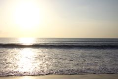 Golden sunset on the Island. With waves, warm, tranquility and fresh Royalty Free Stock Images
