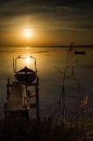 Golden sunset on lacoon Stock Image