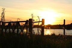 Golden sunset. Through the lagoon Stock Photography