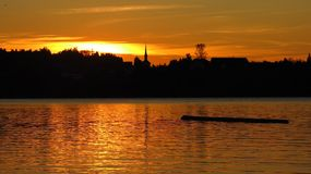 Golden sunset at lake Pfaeffikon Royalty Free Stock Photos