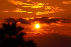 Golden sunset at a mediterranean area Stock Images