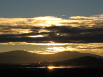 Golden sunset mood 1. Late afternoon sunset over the Klamath River in southern Oregon Stock Photo