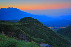 Golden sunset of mountain in north Taiwan Royalty Free Stock Photos