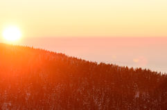 Golden sunset in the mountains, a vast fog over the valley. Golden sunset in the mountains, a vast fog over the valley Royalty Free Stock Photography