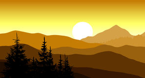 Golden sunset in the mountains. Vector illustration. Royalty Free Stock Photo