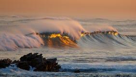 Golden Sunset Ocean Breakers Royalty Free Stock Photos