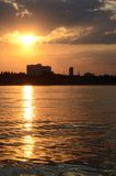Golden sunset at Odessa harbour,Ukraine Stock Photo