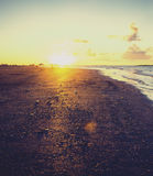 Golden sunset over beach, Ras Elbar, Damietta, Egypt Stock Photo
