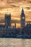Golden sunset over Big Ben in London Stock Images