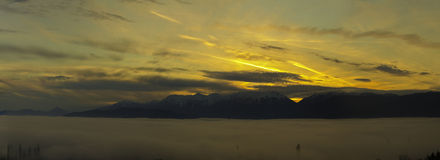 Golden sunset over Big  Prespa Lake Royalty Free Stock Photos