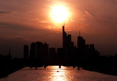 Golden sunset over Frankfurt. Silhouette of the skyline, Hessen, Germany Royalty Free Stock Photography