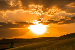 Golden sunset over hills Royalty Free Stock Photo