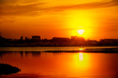 Golden sunset over lake Royalty Free Stock Photo