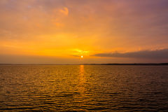 Golden Sunset over Lake Stock Photography