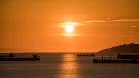 Golden sunset over the ocean Stock Image