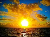 Golden sunset over the ocean Great Barrier Reef Queensland Australia Stock Photos