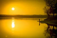 Golden Sunset over the River Royalty Free Stock Photos