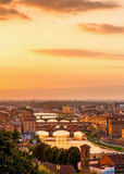 Golden sunset over the river Arno Stock Image
