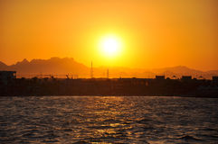 Golden sunset over sea Royalty Free Stock Photo