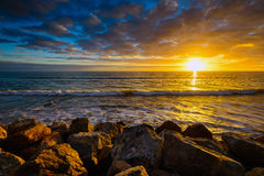 Golden sunset over the sea Stock Image