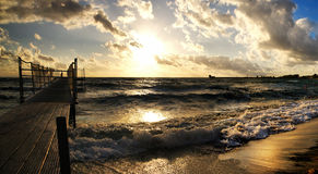 Golden sunset over the sea Royalty Free Stock Images