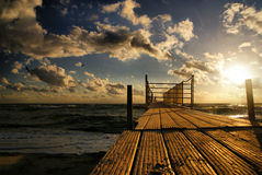 Golden sunset over the sea Stock Photography