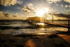 Golden sunset over the sea Stock Photos