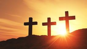 Three crosses at sunset. Golden sunset over three religious crosses on hillside, Easter concept Royalty Free Stock Photo