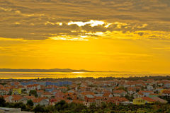 Golden sunset over town of Zadar Stock Photo