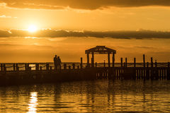 Golden sunset over water Royalty Free Stock Image