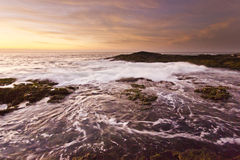 Golden sunset at pacific ocean with waves on rocky shore Stock Photography