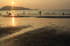 Golden sunset at Patong Royalty Free Stock Photos