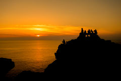 Golden sunset. Photograph of sunsetting in north part of Menorca island, Balearic Islands, Spain Royalty Free Stock Photography