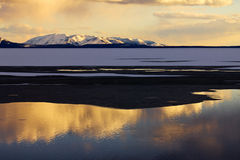 Golden Sunset Reflects Off Lake Yellowstone Royalty Free Stock Photography