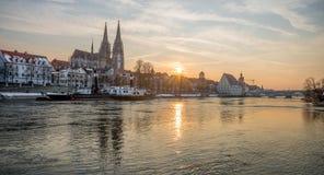 Golden Sunset in Regensburg, Germany Stock Image