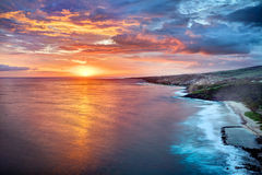 Golden sunset on Reunion. Island observed from Grand Anse view point Stock Photography