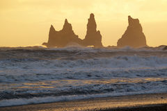 Golden sunset at Reynisdrangar cliffs on Black sand beach in Vik, Iceland Royalty Free Stock Photos