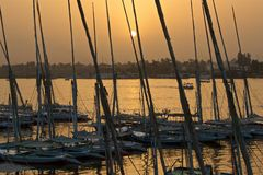 Golden sunset at River Nile with the boats in Luxor, Egypt. Sunset at River Nile with the boats in Luxor, Egypt Royalty Free Stock Images