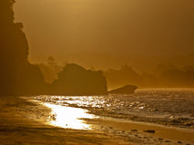 Golden sunset rocky coast Royalty Free Stock Photography