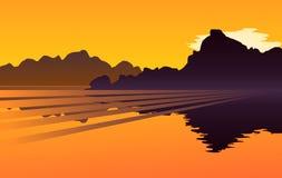 Golden sunset scene Royalty Free Stock Image