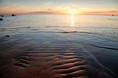Golden sunset on the sea. Stock Photo