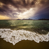 A golden sunset and sea Royalty Free Stock Photo